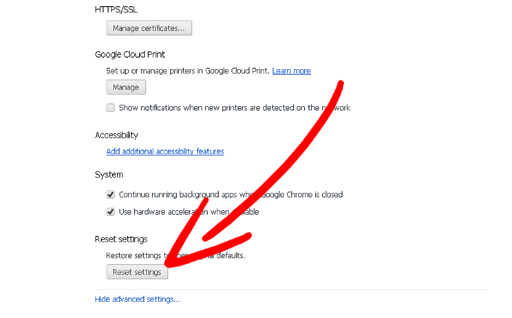 chrome-advanced-menu Come eliminare Ciantel Redirect Virus