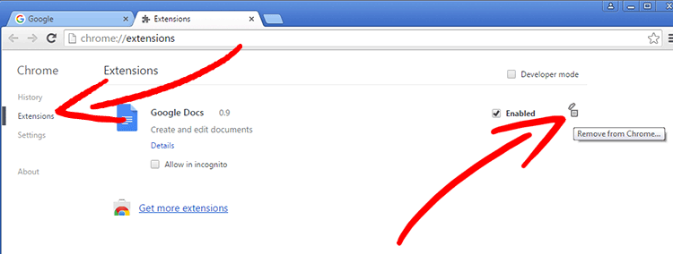 chrome-extensions Search Module verwijderen
