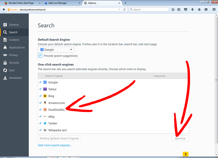 firefox-search-engines วิธีการเอาออก Weather Forecaster Pro redirect