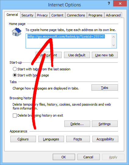 ie-option-general Poista Search.searchbind Redirect Virus