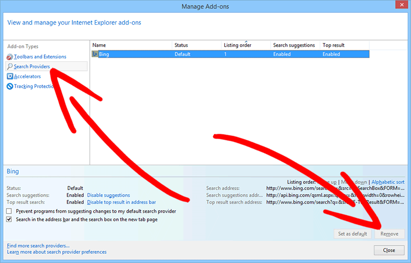ie-search-provider 削除StartPage Redirect Virus