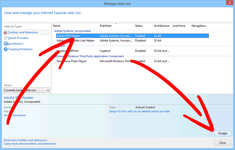 ie-toolbars-extensions วิธีการเอาออก TestForSpeed Search Redirect
