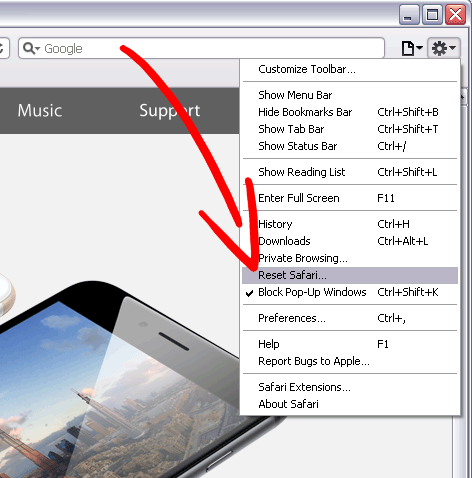 safari-reset-menu إزالة ProductManualsFinder Toolbar