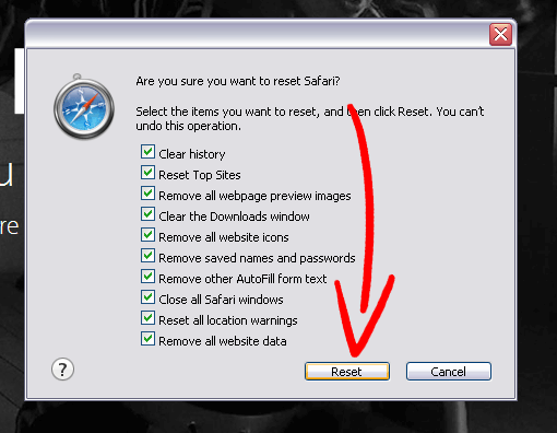 safari-reset Poista Joke Vault New Tab