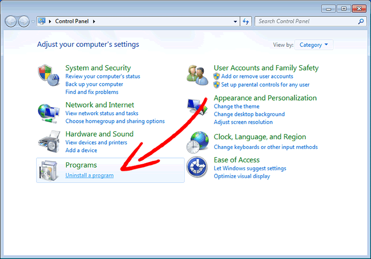 win7-control-panel Quitar Adamant Search Redirect Virus