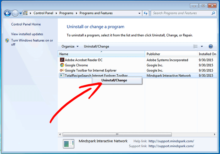 win7-remove-program Search.searchuniverse.online poisto