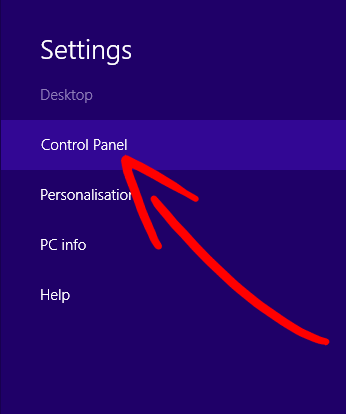 win8-menu-control-panel Poista Search.searchbind Redirect Virus