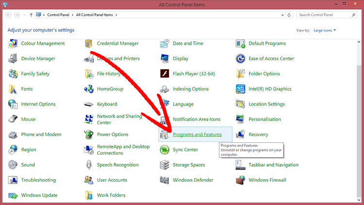 win8-programs-features إزالة Surprise virus