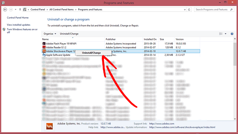 win8-uninstall-program Eliminar Extractor Ransomware