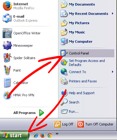 winxp-start إزالة ProductManualsFinder Toolbar