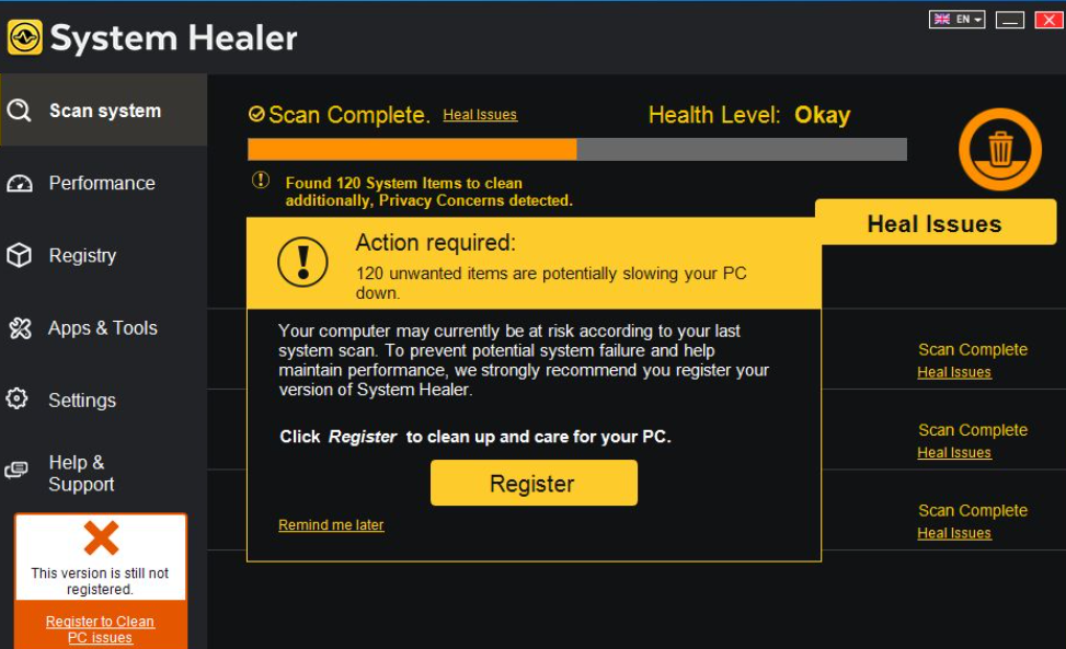 System Healer Ads