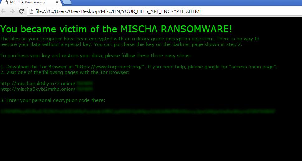 Mischa ransomware-