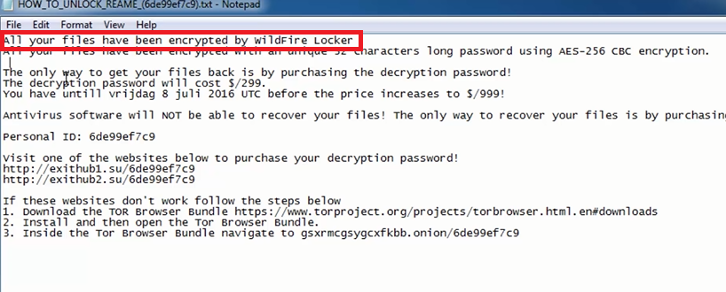 WildFire Locker Virus File