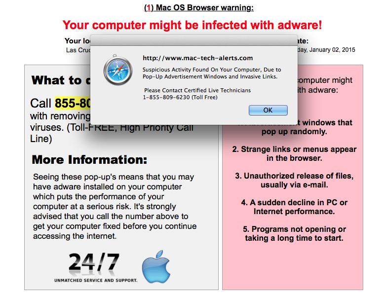 MAC Malware Warning Alert-