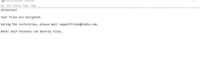 Supportfriend@india.com ransomware-