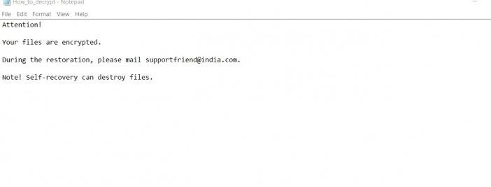 Supportfriend@india.com ransomware-