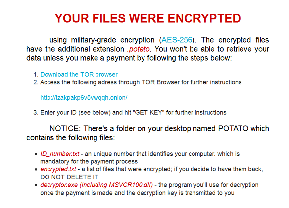 Potato ransomware- removal