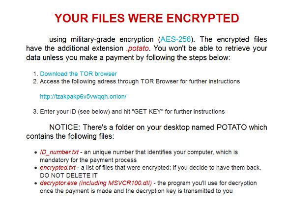 Potato ransomware- removal