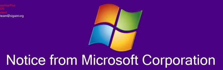 'Notice From Microsoft Corporation' Ransomware-