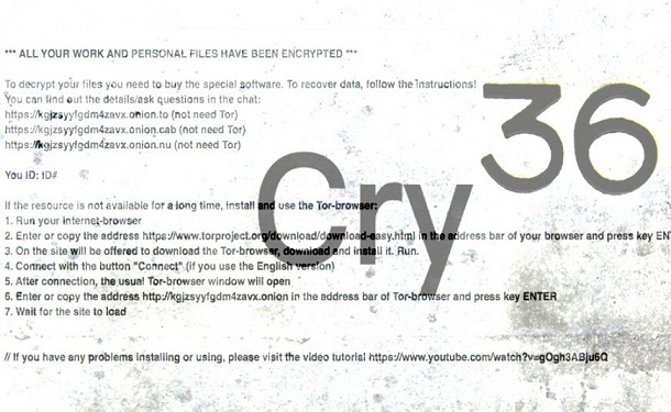 Cry36 ransomware-