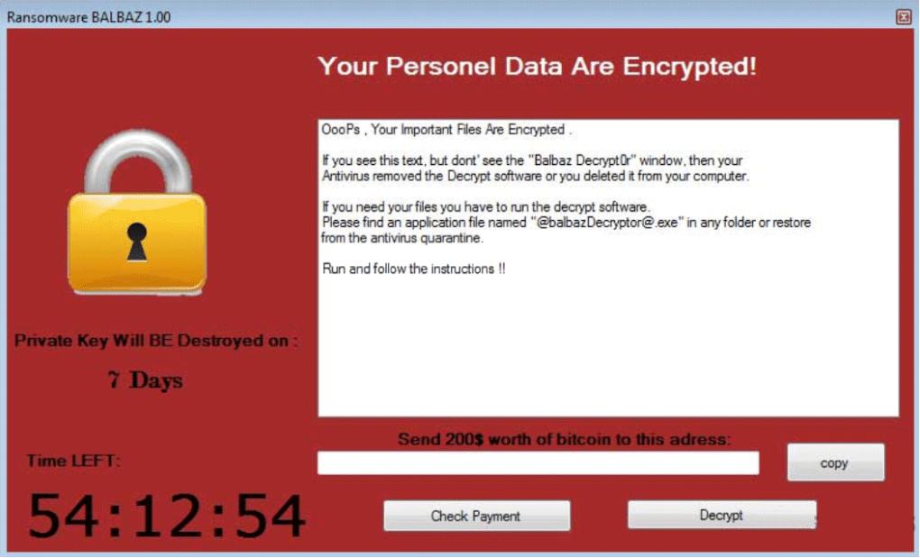 Balbaz ransomware virus
