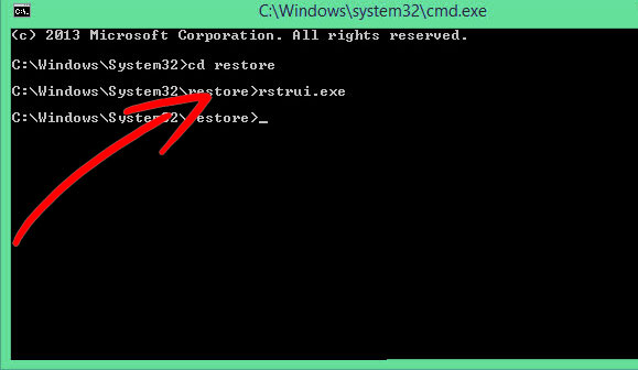 command-promt-restore Come eliminare .builder virus
