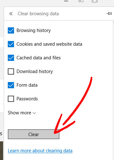 edge-clear-browsing-data ERR_NAME_NOT_RESOLVED を削除する方法