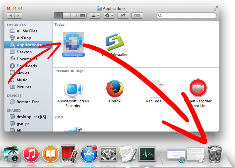mac-os-x-application-trash Nasıl Search.snowballsam.com çıkarmak için