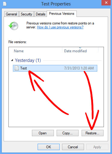 windows-previous-version Rotor ransomware entfernen