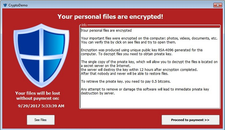 CryptoDemo Ransomware-removal