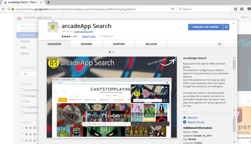 ArcadeApp Search-